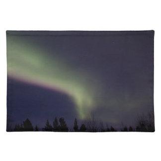 Aurora boreal con una raya de la púrpura mantel individual