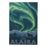 Aurora boreal - curry, Alaska Cuadro De Madera