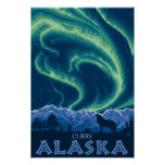Aurora boreal - curry, Alaska Posters