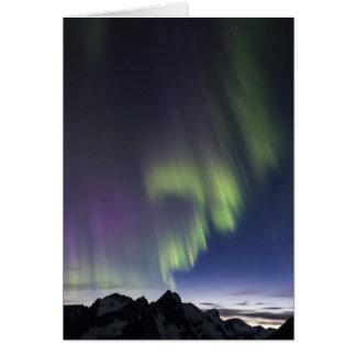 Aurora boreal de Juneau Icefield. (Espacio en Tarjeta De Felicitación