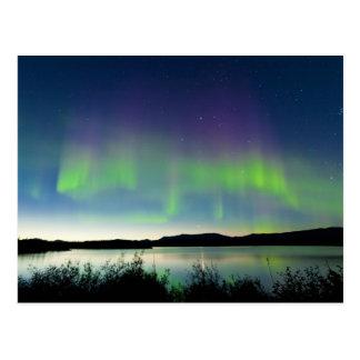 Aurora boreal de la noche de verano sobre el lago  postal