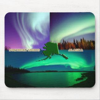 Aurora boreal del collage de Alaska Alfombrillas De Ratón