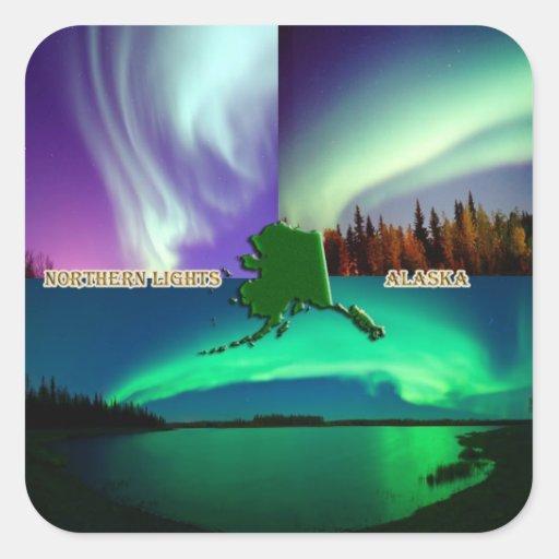 Aurora boreal del collage de Alaska Pegatina Cuadrada