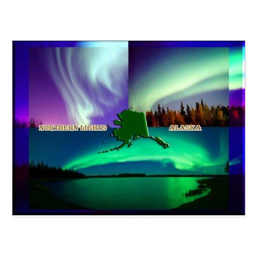Aurora boreal del collage de Alaska Postal