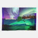 Aurora boreal del collage de Alaska Toalla De Mano