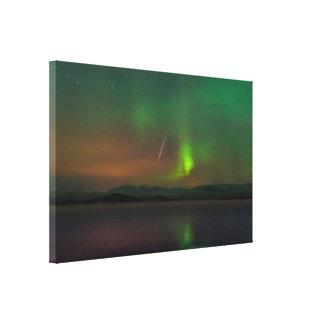 Aurora boreal e impresión de la lona del meteorito impresiones en lona