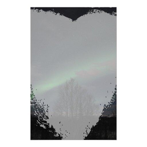 Aurora boreal en bosque boreal papelería personalizada