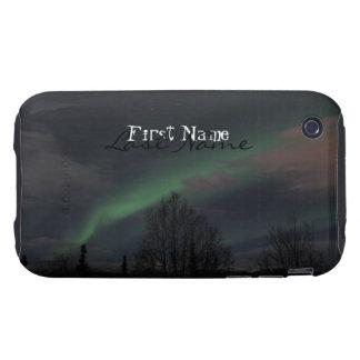 Aurora boreal en bosque boreal; Personalizable Funda Resistente Para iPhone 3
