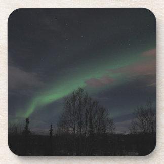 Aurora boreal en bosque boreal posavasos de bebida