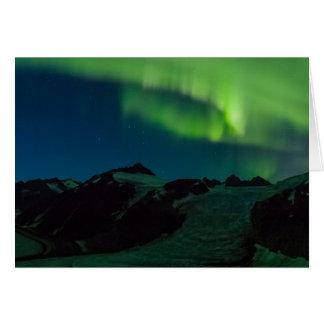 Aurora boreal en Juneau Icefield (espacio en blanc Tarjeton