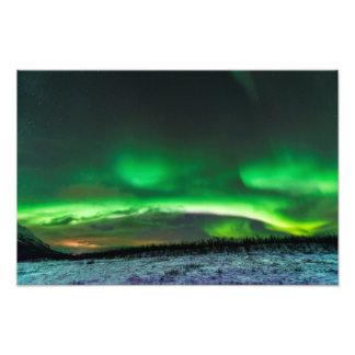 Aurora boreal en la impresión ártica de la foto fotografía