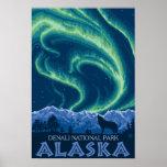 Aurora boreal - parque nacional de Denali, Alaska Póster
