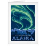 Aurora boreal - parque nacional de Denali, Alaska Felicitación
