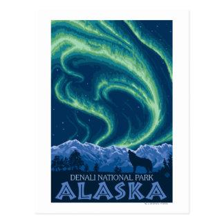 Aurora boreal - parque nacional de Denali, Alaska Tarjeta Postal