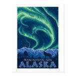 Aurora boreal - parque nacional de Denali, Alaska Tarjetas Postales
