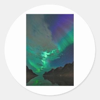aurora boreal etiqueta redonda