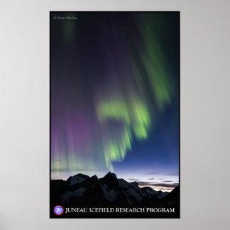 Aurora boreal sobre el Juneau Icefield Póster