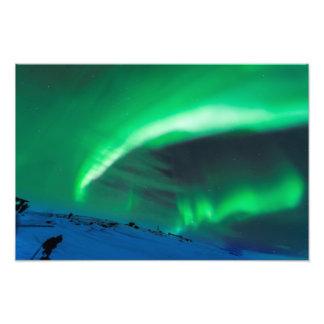 Aurora boreal sobre la impresión de la foto del Mt Fotografía