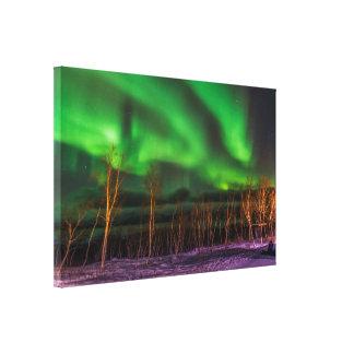 Aurora boreal sobre la impresión de la lona de impresion de lienzo