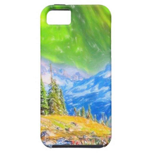 Aurora boreal sobre las montañas en colores pastel iPhone 5 Case-Mate protectores