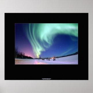 Aurora boreal sobre poster del lago bear, Alaska