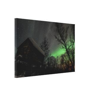 Aurora boreal sobre un Sami Goathi Lienzo Envuelto Para Galerías