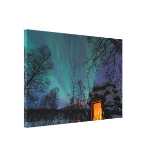 Aurora boreal sobre una impresión de la lona de la impresión en lona estirada