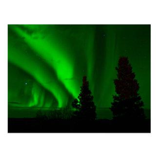 Aurora boreal verde postal