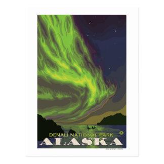 Aurora boreal y orcas - parque nacional de Denali, Tarjeta Postal