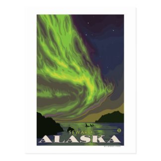 Aurora boreal y orcas - Seward, Alaska Postal