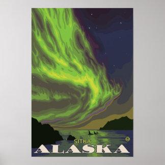 Aurora boreal y orcas - Sitka Alaska Impresiones