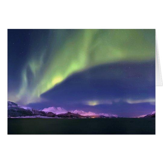 Aurora Borealis above Lyngenfjorden Norway Card