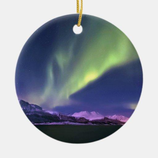 Aurora Borealis above Lyngenfjorden Norway Christmas Tree Ornaments
