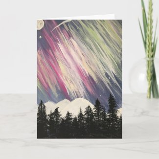 Aurora Borealis Above The Forest Card