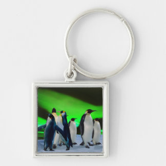 Aurora borealis and penguins Silver-Colored square keychain