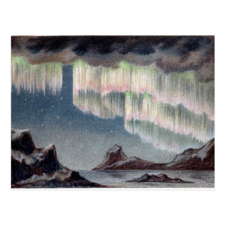 Aurora Borealis - aurora boreal del vintage Postal