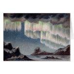 Aurora Borealis - aurora boreal del vintage Tarjetón