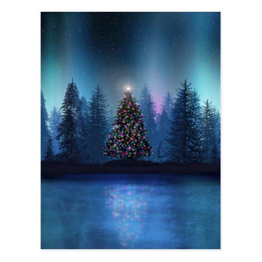 Aurora Borealis Christmas Postcard | Zazzle