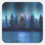 Aurora Borealis Christmas Square Sticker