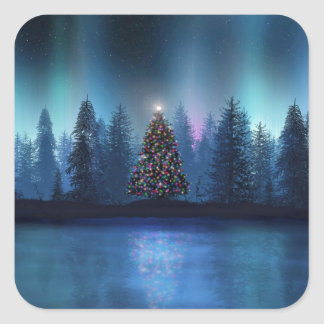 Aurora Borealis Christmas Square Sticker