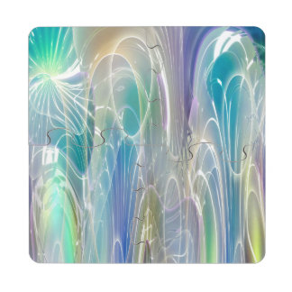 Aurora Borealis Fantasy Abstract Art Pastel Shades Puzzle Coaster