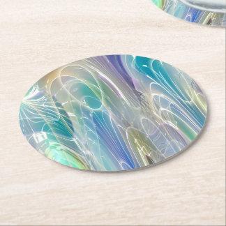 Aurora Borealis Fantasy Abstract Art Pastel Shades Round Paper Coaster