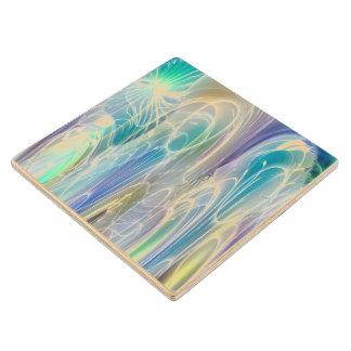 Aurora Borealis Fantasy Abstract Art Pastel Shades Wooden Coaster