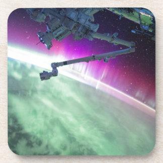 Aurora Borealis from space Beverage Coaster