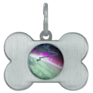 Aurora Borealis from space Pet Name Tag