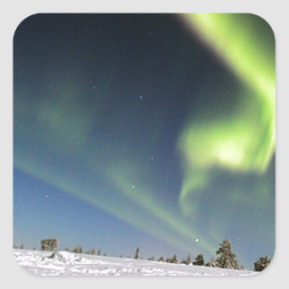 Aurora Borealis green Northern lights snowscape Square Sticker