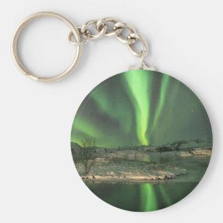 Aurora Borealis Iceland Basic Round Button Keychain