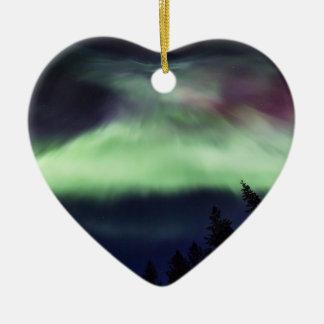 Aurora borealis in Finnish Lapland Ceramic Ornament