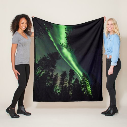 Aurora borealis in Finnish Lapland Fleece Blanket