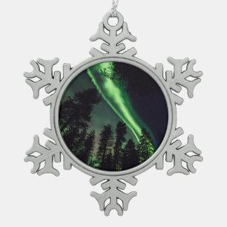 Aurora borealis in Finnish Lapland Snowflake Pewter Christmas Ornament